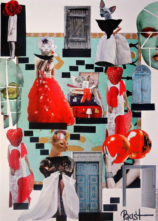 """Символизм ручной работы. Ярмарка Мастеров - ручная работа. Купить Картина """"Баст"""". Коллаж. Сюрреализм. Бастет. Фрида Кало. Handmade."""
