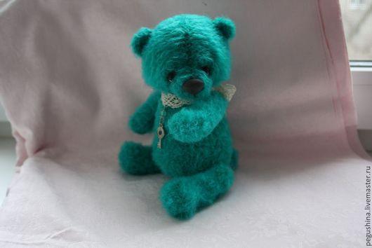 Мишки Тедди ручной работы. Ярмарка Мастеров - ручная работа. Купить Бирюзовый медвежонок. Handmade. Медвежонок, вязаная игрушка, фетр