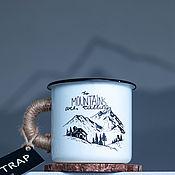 """Кружки винтажные ручной работы. Ярмарка Мастеров - ручная работа Эмалированная кружка TRAP """"Mountains"""". Handmade."""