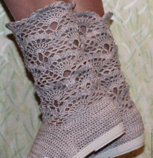 Обувь ручной работы. Ярмарка Мастеров - ручная работа. Купить Сапожки вязаные.. Handmade. Серый, Сапожки, сапожки из хлопка