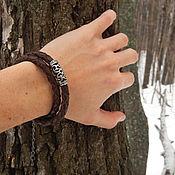 Украшения handmade. Livemaster - original item Leather braided bracelet winding - choker with metal bead. Handmade.