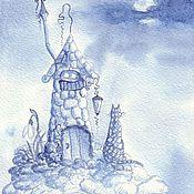 Картины и панно handmade. Livemaster - original item Cat Farisi visiting the Blue Clouds, watercolor. Handmade.