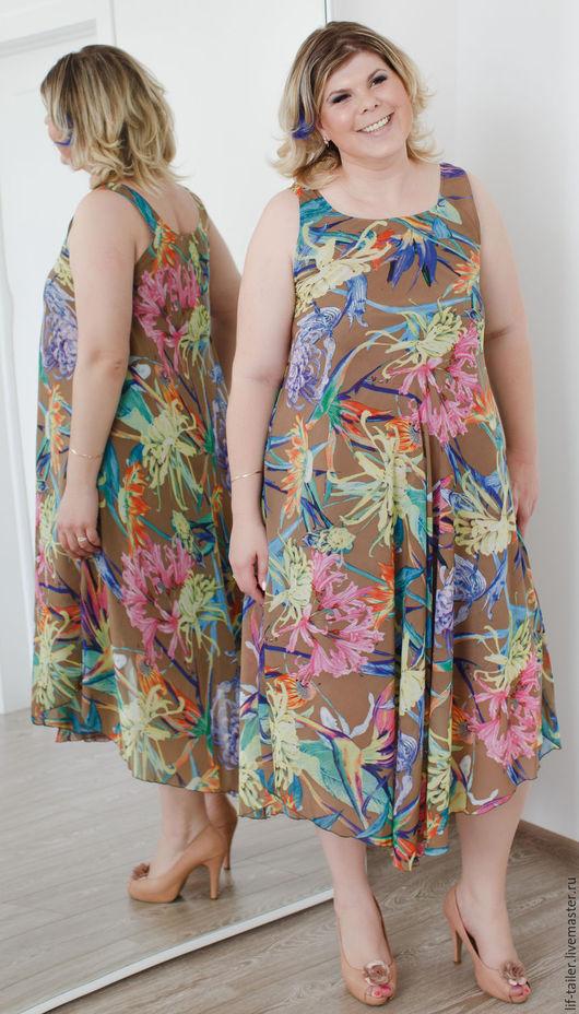 Сарафан бежевый `Экзотические цветы` По бокам платье выше, чем в центре. Платье красиво смотрится как с поясом так и без него.