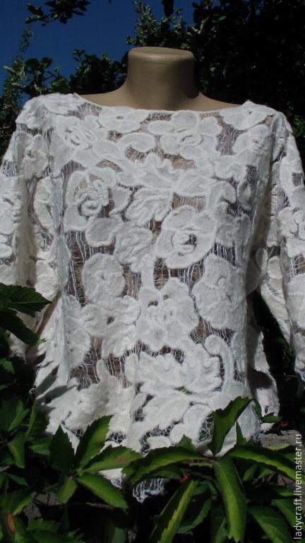 Валяние ручной работы. Ярмарка Мастеров - ручная работа. Купить Выкройка блузы Шерстяное Ришелье. Handmade. Чёрно-белый