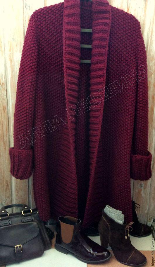 Кофты и свитера ручной работы. Ярмарка Мастеров - ручная работа. Купить Кардиган цвета бургунди. Handmade. Комбинированный, Кардиган-пальто