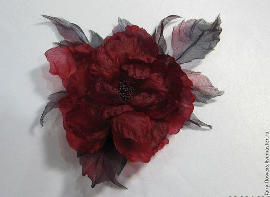 Цветы ручной работы. Ярмарка Мастеров - ручная работа. Купить цветок из шелка. Handmade. Бордовый, брошь из ткани, Шёлк 100%
