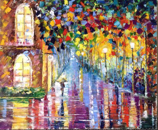 """Город ручной работы. Ярмарка Мастеров - ручная работа. Купить картина """"Мокрая ночь"""". Handmade. Комбинированный, картина в подарок"""