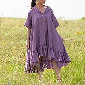 Одежда handmade. Livemaster - original item Linen dress with flounces / DR0544LE. Handmade.
