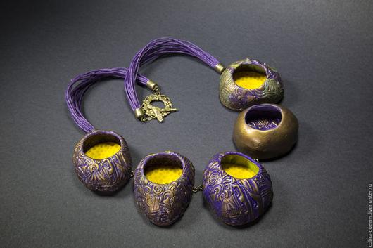 """Колье, бусы ручной работы. Ярмарка Мастеров - ручная работа. Купить """"Гнёзда фениксов"""" колье. Handmade. Желто-фиолетовый, желтый"""