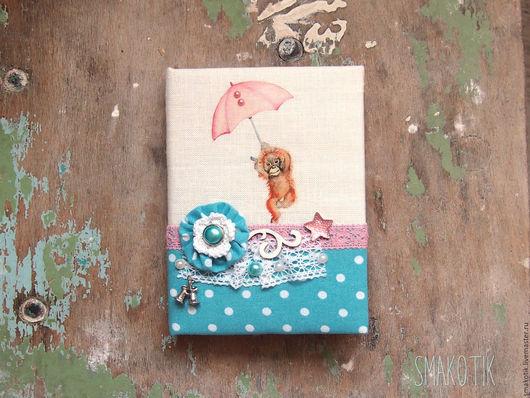 """Блокноты ручной работы. Ярмарка Мастеров - ручная работа. Купить Блокнот """"Обезьянка с зонтом"""". Handmade. Голубой, блокнот ручной работы"""