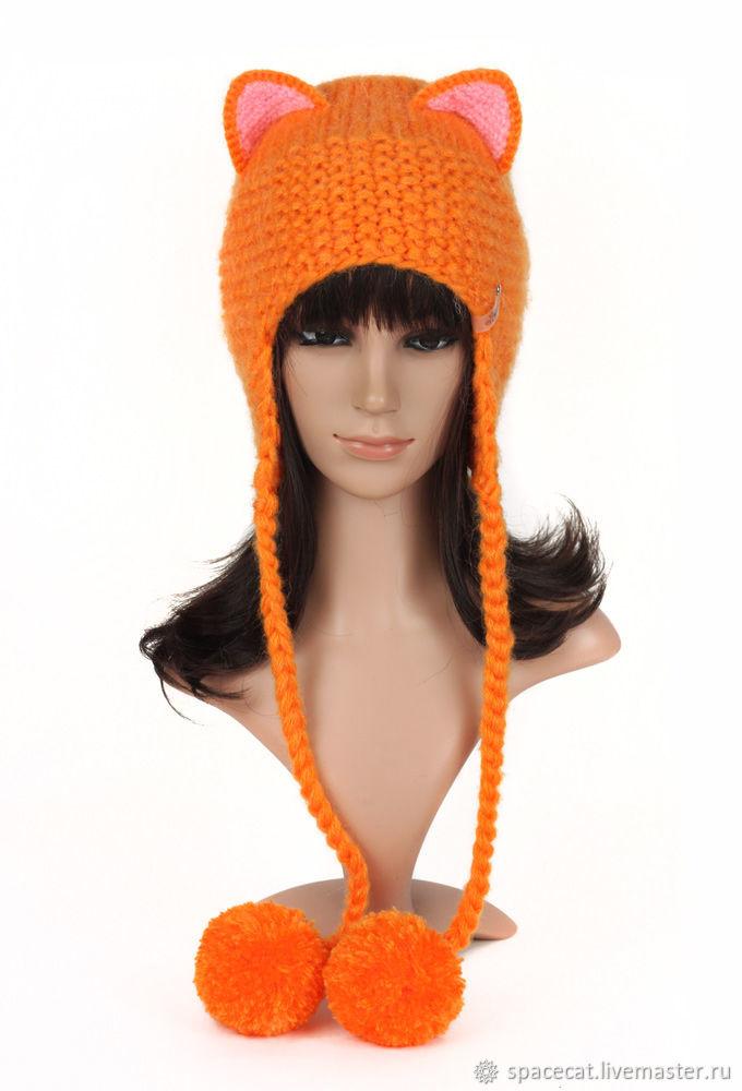 The cap with ears Fox SLI, womens knitted red, Caps, Orenburg,  Фото №1