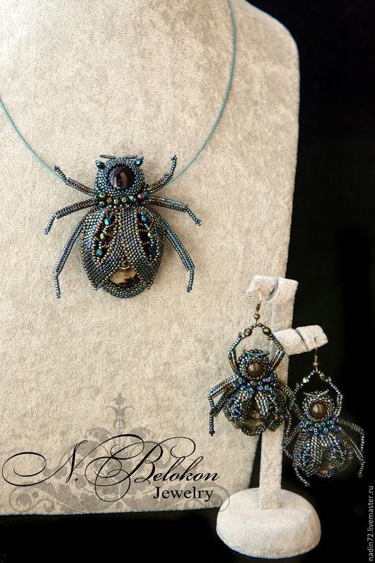 Комплекты украшений ручной работы. Ярмарка Мастеров - ручная работа. Купить Джинсовые жуки. Handmade. Синий, комплект украшений, тренд