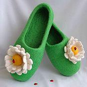 """Обувь ручной работы. Ярмарка Мастеров - ручная работа Тапочки для дома """"Ромашка"""". Handmade."""