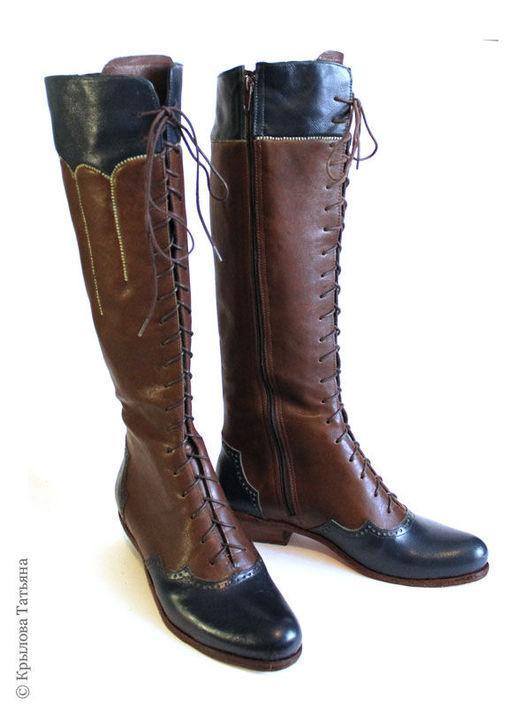Обувь ручной работы. Ярмарка Мастеров - ручная работа. Купить Высокие ботинки на шнуровке. Handmade. Комбинированный, ичижный шов, стимпанк
