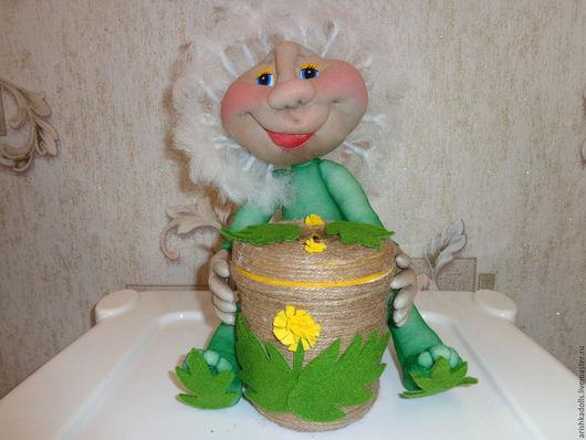 Человечки ручной работы. Ярмарка Мастеров - ручная работа. Купить Кукла Одуванчик с копилкой. Handmade. Капроновая кукла, одуванчик, синтепон