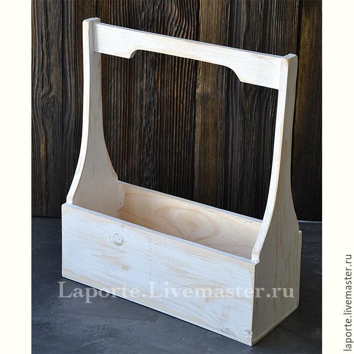 Ящик для цветов #7 деревянный, белого цвета, Упаковка, Москва,  Фото №1