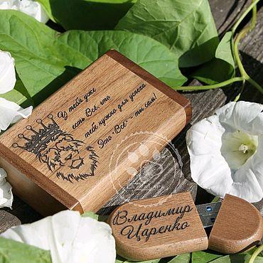 Сувениры и подарки ручной работы. Ярмарка Мастеров - ручная работа Флешка 32 гб (64 на заказ) в подарочной коробке с любой гравировкой. Handmade.