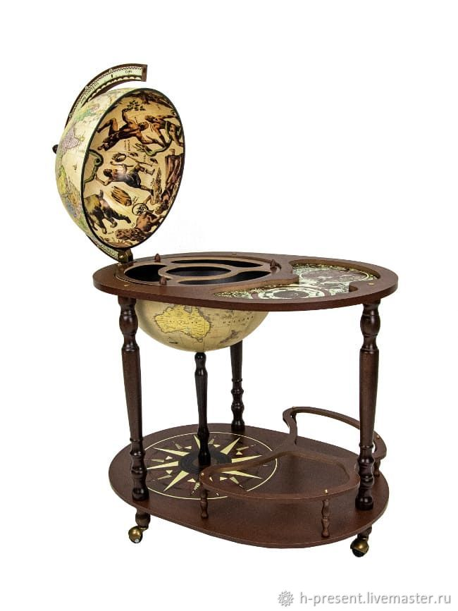 Globe bar floor with table 'Jason', sphere 40 cm, Stand for bottles and glasses, St. Petersburg,  Фото №1