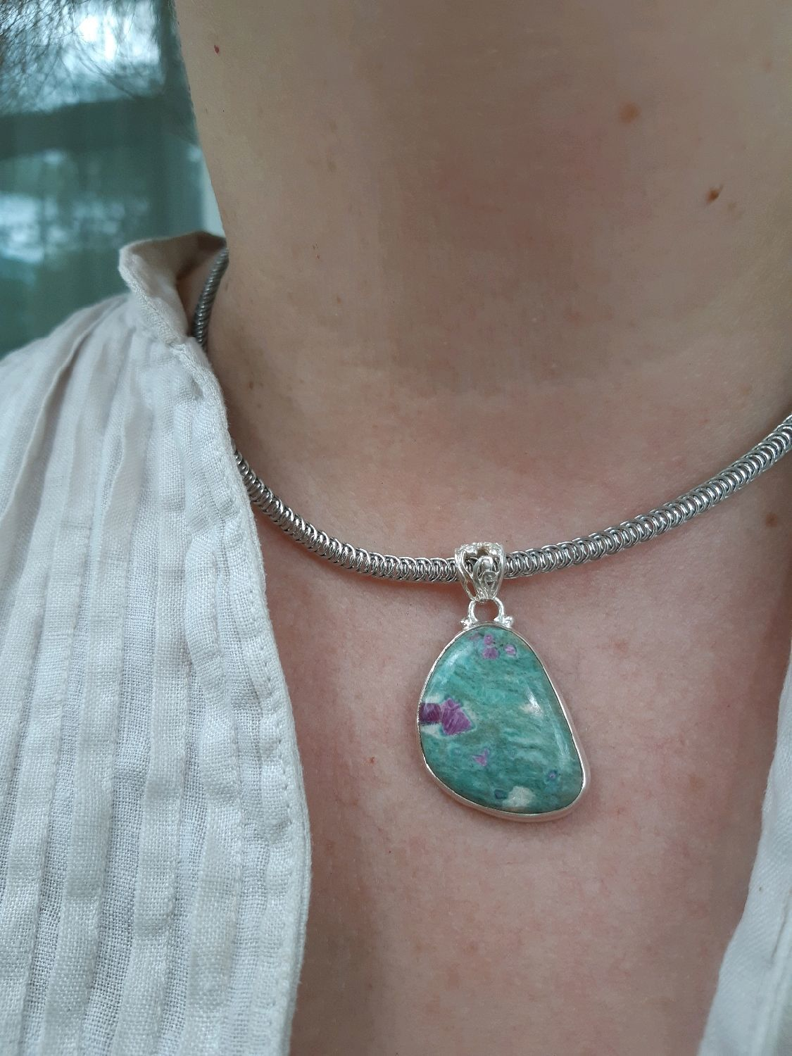 The KEEPER - the delicate pendant is a talisman with a ruby in fuchsite, Pendants, Moscow,  Фото №1
