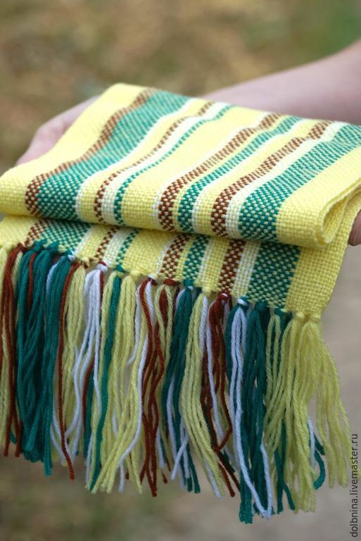 Шапки и шарфы ручной работы. Ярмарка Мастеров - ручная работа. Купить домотканый шарф yellow для детей. Handmade. В полоску
