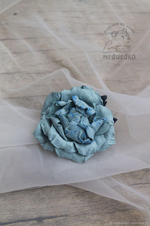 Blue rose leather brooch, Brooches, Vidnoye,  Фото №1
