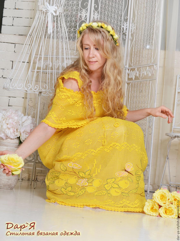 Платья с вышивкой крючком