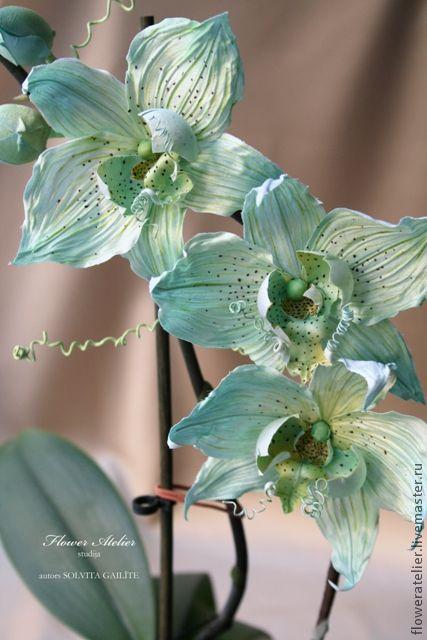 """Интерьерные композиции ручной работы. Ярмарка Мастеров - ручная работа. Купить Ветка орхидеи """"Мятная"""". Handmade. Мятный, зеленый"""