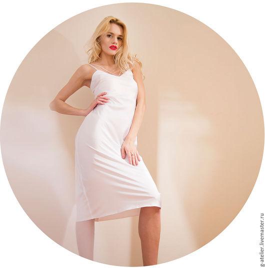 Платья ручной работы. Ярмарка Мастеров - ручная работа. Купить Белое платье-комбинация на сутажных бретелях. Handmade. Белый