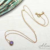 Украшения handmade. Livemaster - original item Thin necklace with purple zircon