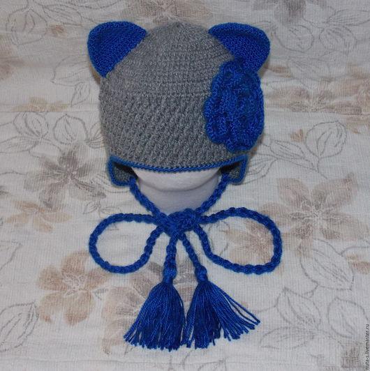 Шапки и шарфы ручной работы. Ярмарка Мастеров - ручная работа. Купить Шапочка с звериными ушками и цветком. Handmade. Серый, крючком