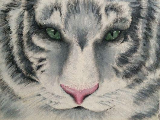 Животные ручной работы. Ярмарка Мастеров - ручная работа. Купить Картина маслом Белый тигр. Handmade. Белый, серый, животные
