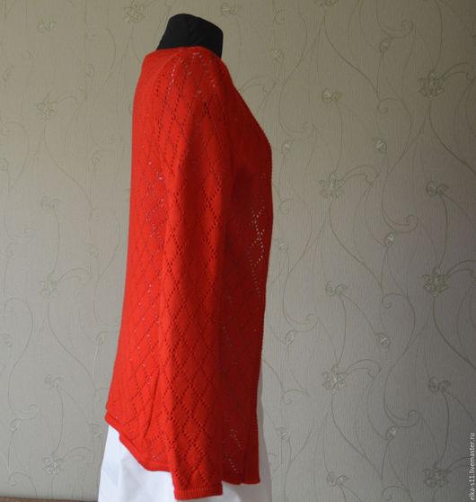 Кофты и свитера ручной работы. Ярмарка Мастеров - ручная работа. Купить Кардиган летний. Handmade. Ярко-красный, кардиган