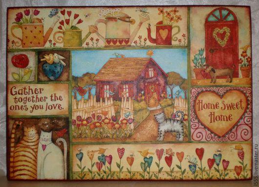 """Кухня ручной работы. Ярмарка Мастеров - ручная работа. Купить Разделочная доска панно """"Позитив"""". Handmade. Разноцветный, панно"""