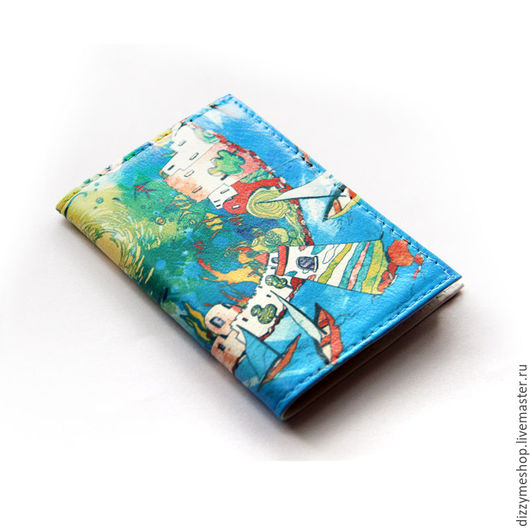 """Кошельки и визитницы ручной работы. Ярмарка Мастеров - ручная работа. Купить Визитница """"Тунис"""". Handmade. Синий, тунис, море, маяк"""