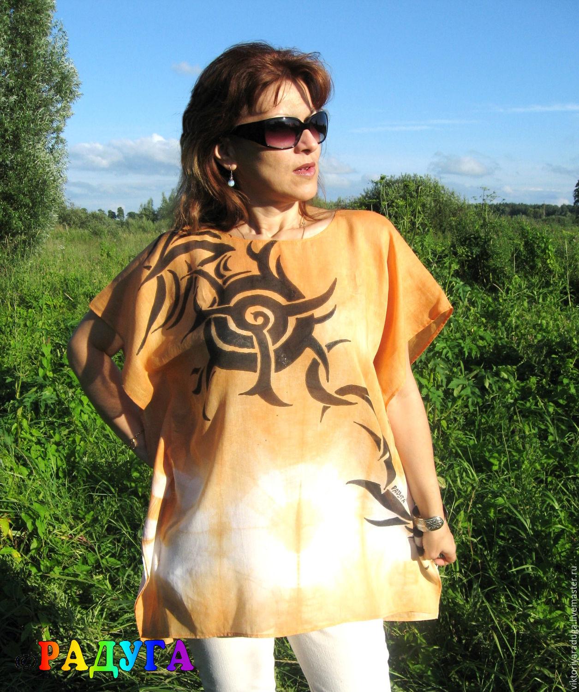 "Туника ""Солнце""  - батик, Tunics, Slavsk,  Фото №1"