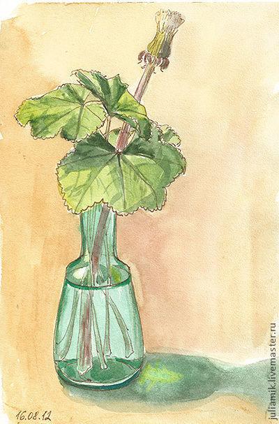 Картины цветов ручной работы. Ярмарка Мастеров - ручная работа. Купить Одуванчик. Handmade. Зеленый, одуванчик, манжетка, акварель, растения