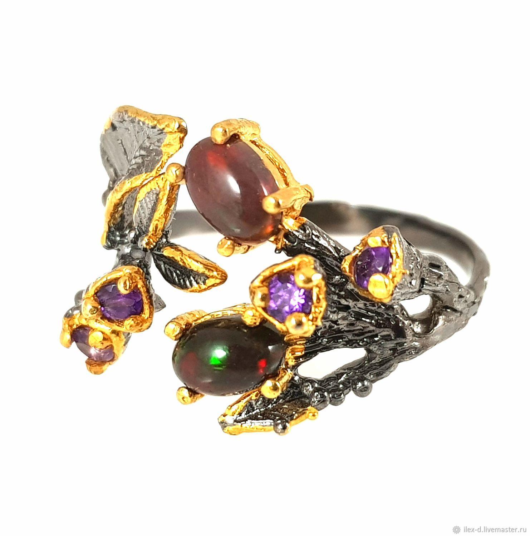 Серебряное кольцо с черным опалом, 925 проба, Кольца, Москва,  Фото №1