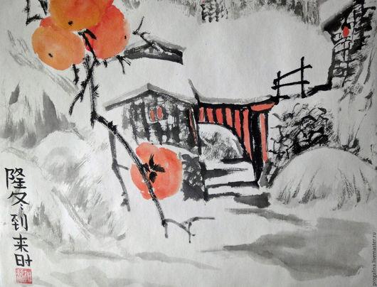 Пейзаж ручной работы. Ярмарка Мастеров - ручная работа. Купить Зимние радости. Handmade. Китайская живопись, зимний пейзаж, серый