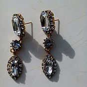 Украшения handmade. Livemaster - original item Long earrings with faceted crystals