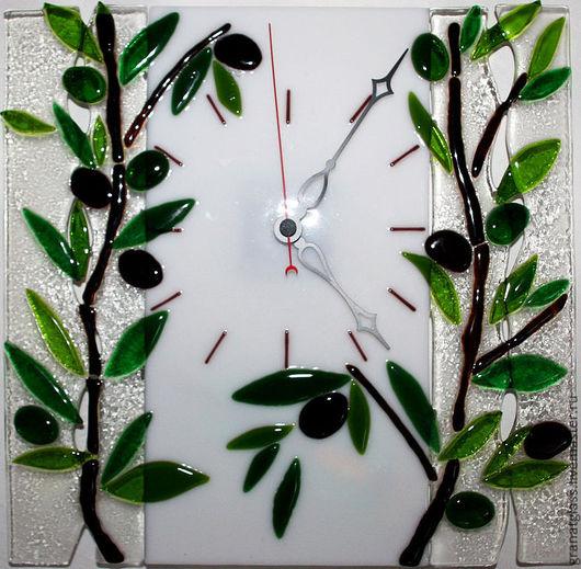 """Часы для дома ручной работы. Ярмарка Мастеров - ручная работа. Купить Часы в технике фьюзинг """"Маслины"""". Handmade. Часы"""