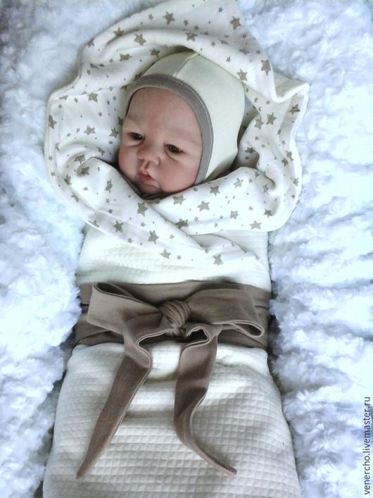 """Для новорожденных, ручной работы. Ярмарка Мастеров - ручная работа. Купить Комплект для малыша """"Счастливая звезда"""". Handmade. Бежевый, для прогулок"""