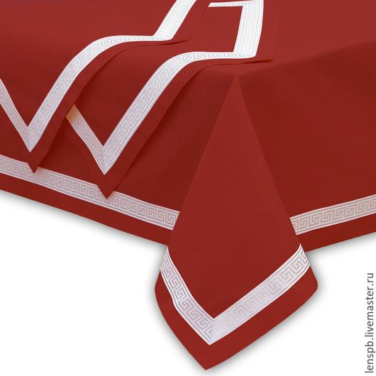Текстиль, ковры ручной работы. Ярмарка Мастеров - ручная работа. Купить Льняная скатерть 3 метра с жаккардовой тесьмой. Handmade.