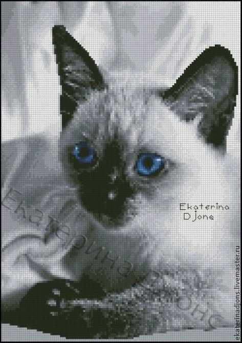 """Авторская схема вышивки крестом """"Сиамский кот"""". Сделаю схему на заказ по фото вашего питомца."""