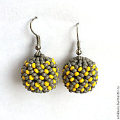 Украшения handmade. Livemaster - original item Earrings yellow beads grey beaded. Handmade.
