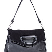 Винтаж handmade. Livemaster - original item Black genuine leather and suede bag. LABBRA. Handmade.