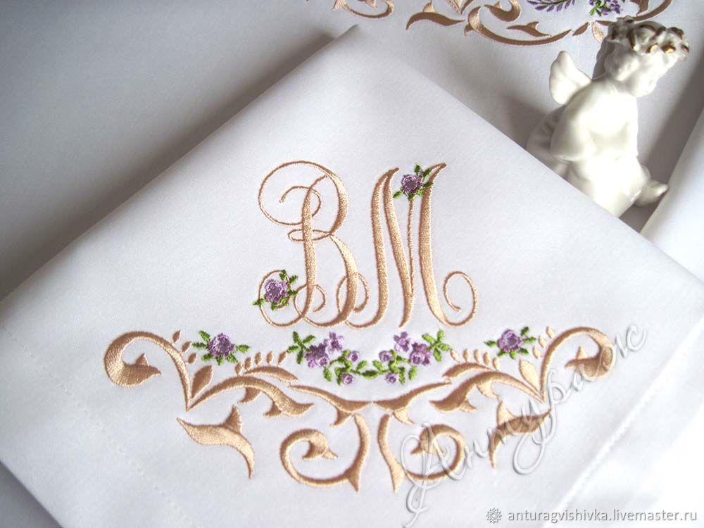 Свадебные салфетки с вышивкой 4263 Вензель в стиле Прованс, Салфетки, Санкт-Петербург, Фото №1