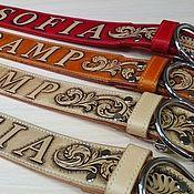 Для домашних животных, handmade. Livemaster - original item Personalized dog collar made of genuine leather. Handmade.