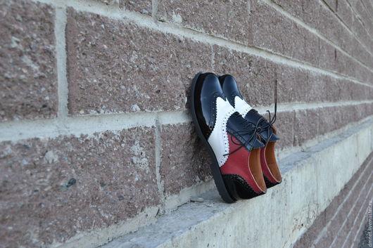 Обувь ручной работы. Ярмарка Мастеров - ручная работа. Купить Оксфорд женский трехцветный МАРИЯ. Handmade. Черный, натуральная кожа