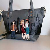 Сумки и аксессуары handmade. Livemaster - original item Bag leather women`s Bag with applique City gray Classica. Handmade.