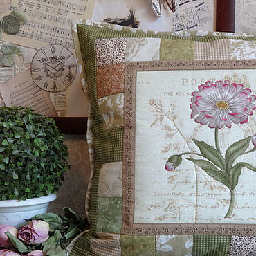 Для дома и интерьера handmade. Livemaster - original item Patchwork pillow case of Old herbarium.Daisy.. Handmade.